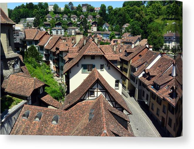 Red Rooftops Canvas Print featuring the photograph Rooftops of Medieval Bern, Switzerland by Two Small Potatoes