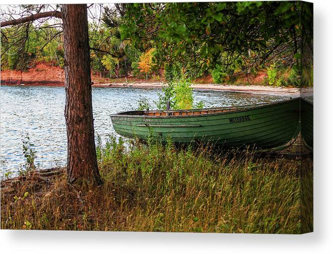 Fall Canvas Print featuring the photograph Row boat in Fall by James McClintock