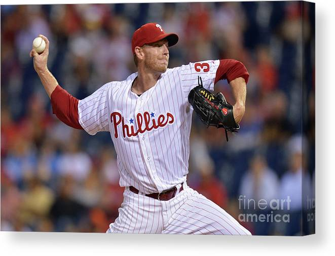 Three Quarter Length Canvas Print featuring the photograph Roy Halladay by Drew Hallowell