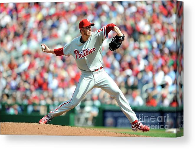 Baseball Pitcher Canvas Print featuring the photograph Roy Halladay by Greg Fiume