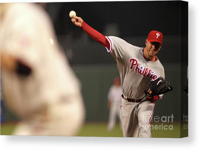 California Canvas Print featuring the photograph Roy Halladay by Jed Jacobsohn