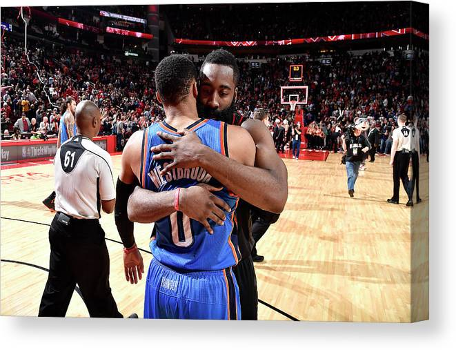 Nba Pro Basketball Canvas Print featuring the photograph Russell Westbrook and James Harden by Bill Baptist