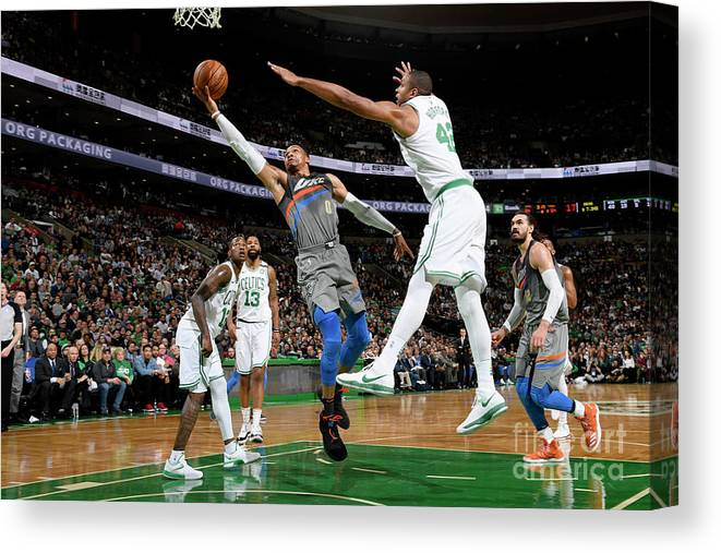 Nba Pro Basketball Canvas Print featuring the photograph Russell Westbrook by Brian Babineau