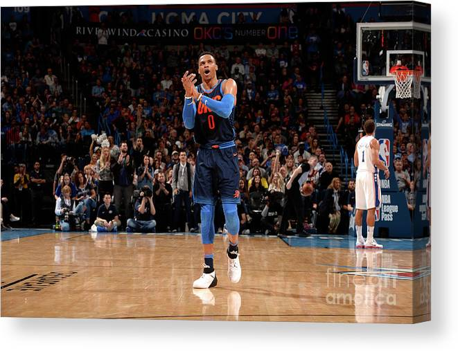 Nba Pro Basketball Canvas Print featuring the photograph Russell Westbrook by David Dow