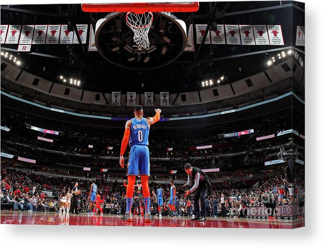Nba Pro Basketball Canvas Print featuring the photograph Russell Westbrook by Jeff Haynes