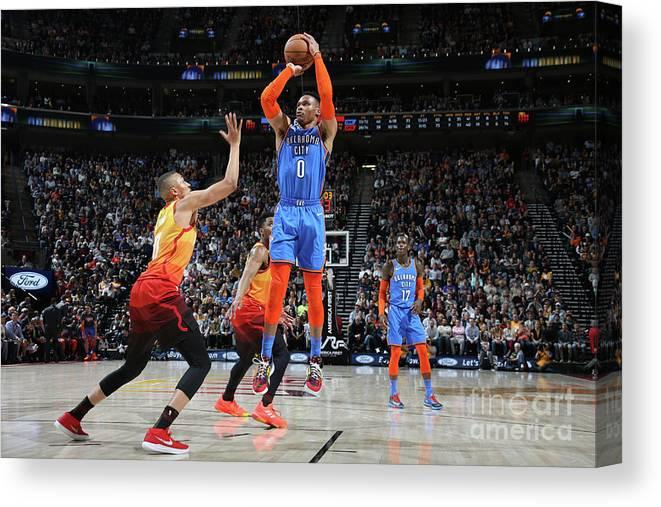 Nba Pro Basketball Canvas Print featuring the photograph Russell Westbrook by Melissa Majchrzak