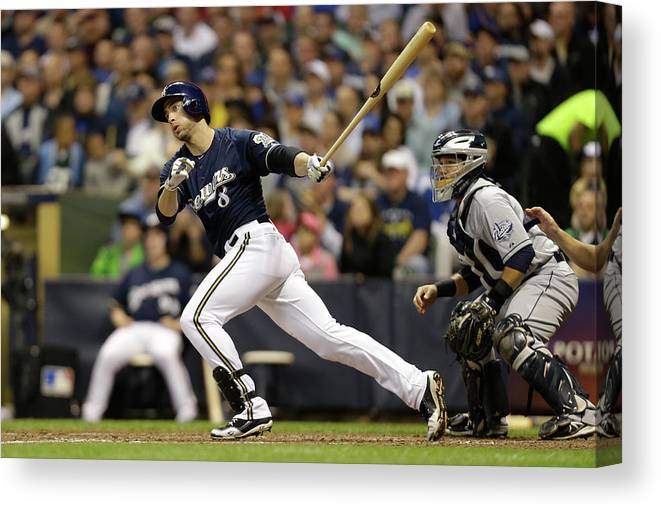 Scoring Canvas Print featuring the photograph Ryan Braun and Carlos Gomez by Mike Mcginnis