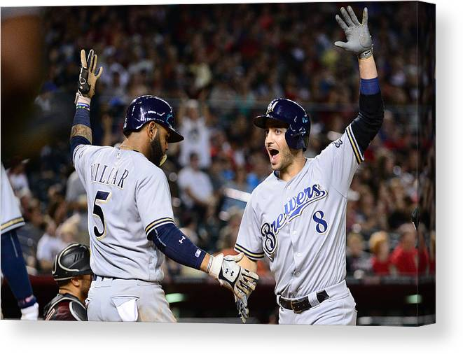 Three Quarter Length Canvas Print featuring the photograph Ryan Braun and Jonathan Villar by Jennifer Stewart