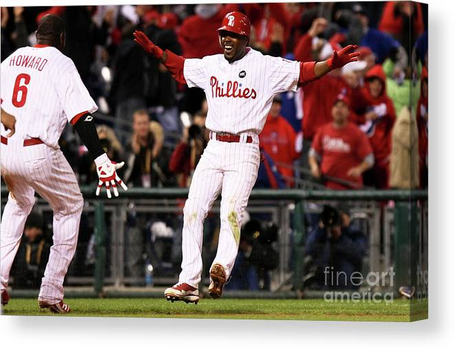 Playoffs Canvas Print featuring the photograph Ryan Howard and Jimmy Rollins by Nick Laham