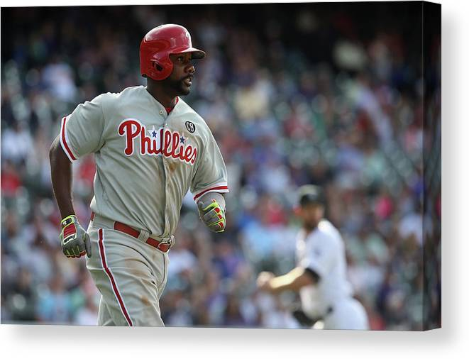 Ryan Howard Canvas Print featuring the photograph Ryan Howard by Doug Pensinger