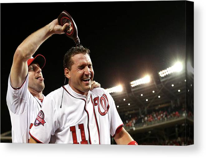 People Canvas Print featuring the photograph Ryan Zimmerman and Max Scherzer by Patrick Smith