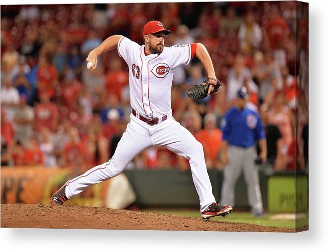Great American Ball Park Canvas Print featuring the photograph Sam Lecure by Jamie Sabau