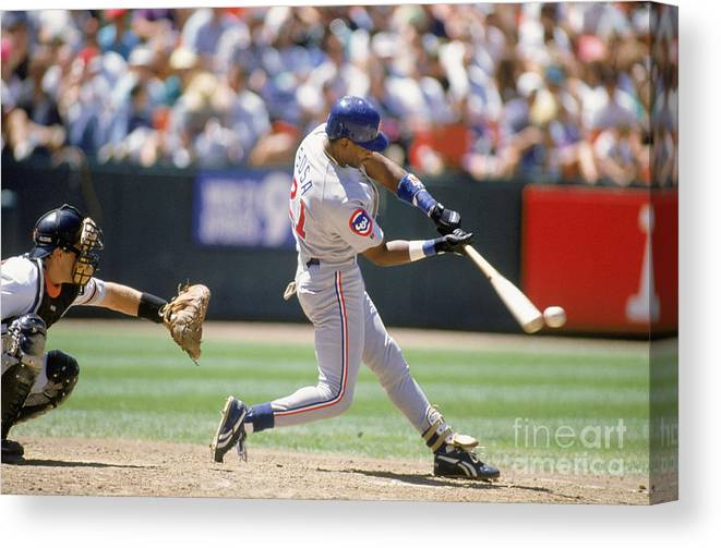 Candlestick Park Canvas Print featuring the photograph Sammy Sosa by Jeff Carlick