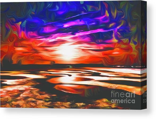 Landscape Canvas Print featuring the digital art Sands Beach by Michael Stothard