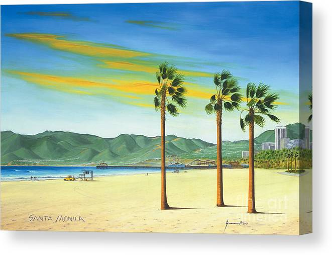 Santa Monica Canvas Print featuring the painting Santa Monica by Jerome Stumphauzer