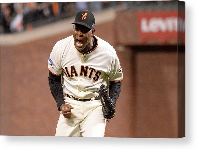 Playoffs Canvas Print featuring the photograph Santiago Casilla by Harry How