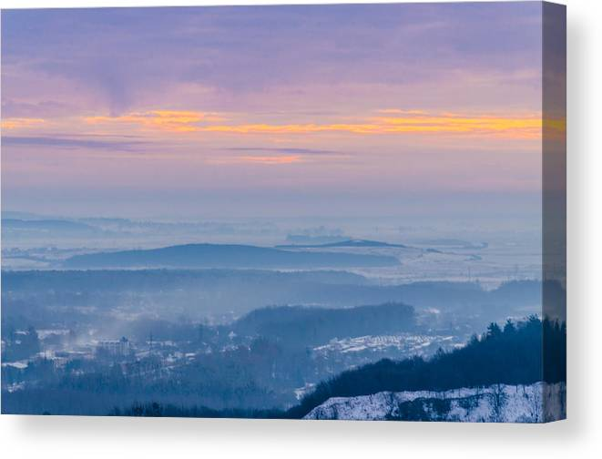 Tranquility Canvas Print featuring the photograph Scenic view of mountains during sunset by Yuriy Semak / FOAP