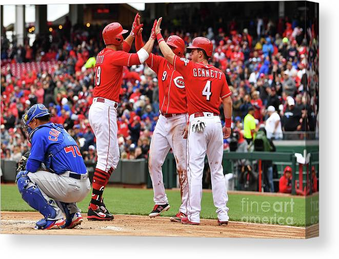 Great American Ball Park Canvas Print featuring the photograph Scooter Gennett and Joey Votto by Jamie Sabau