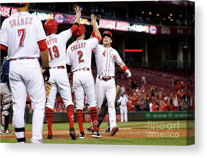 Great American Ball Park Canvas Print featuring the photograph Scooter Gennett, Zack Cozart, and Joey Votto by Kirk Irwin