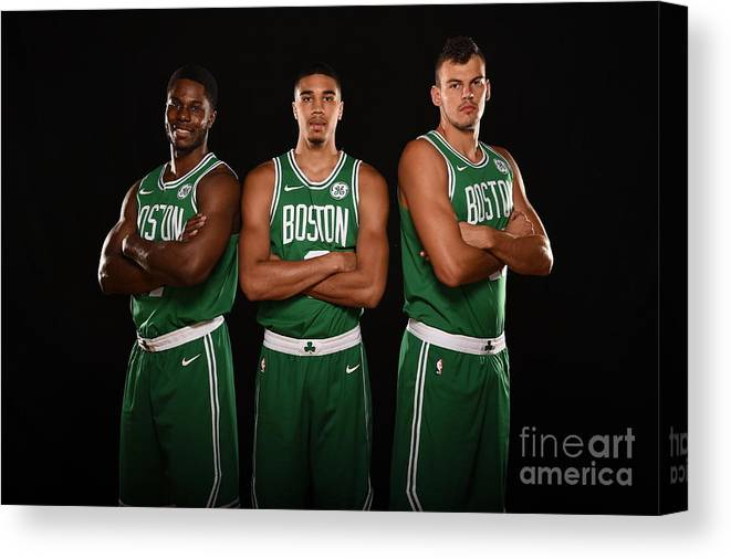 Nba Pro Basketball Canvas Print featuring the photograph Semi Ojeleye and Jayson Tatum by Brian Babineau