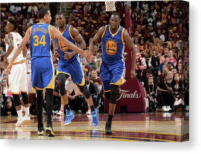 Playoffs Canvas Print featuring the photograph Shaun Livingston and Draymond Green by Andrew D. Bernstein