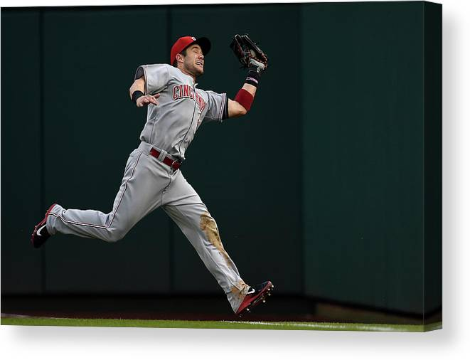 American League Baseball Canvas Print featuring the photograph Skip Schumaker and Anthony Rendon by Patrick Smith
