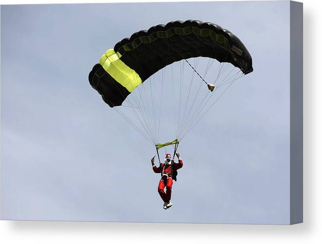 Internet Canvas Print featuring the photograph Skydiving Santas Launch New Experiences Website by Brendon Thorne