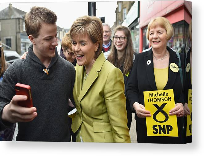 Democracy Canvas Print featuring the photograph SNP Leader Nicola Sturgeon Unveils An Anti-Austerity Plan To Boost the NHS by Jeff J Mitchell