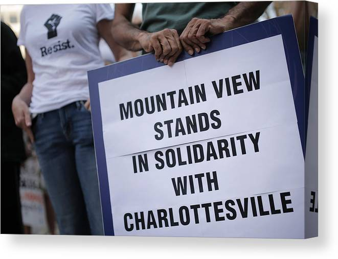 California Canvas Print featuring the photograph Solidarity With Charlottesville Rallies Are Held Across The Country, In Wake Of Death After Alt Right Rally Last Week by Elijah Nouvelage