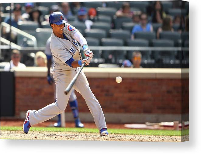 American League Baseball Canvas Print featuring the photograph Starlin Castro by Al Bello