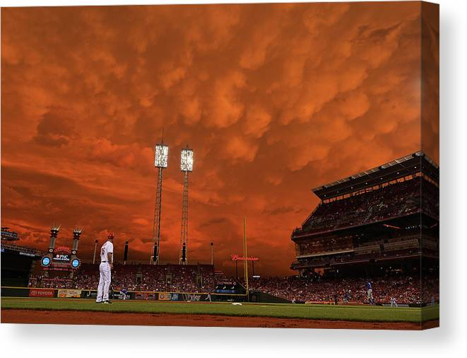 Great American Ball Park Canvas Print featuring the photograph Starlin Castro by Jamie Sabau