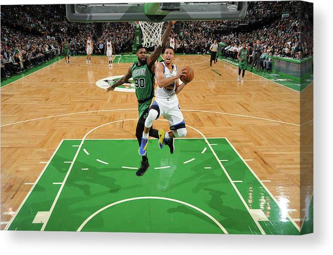 Nba Pro Basketball Canvas Print featuring the photograph Stephen Curry and Gerald Green by Brian Babineau