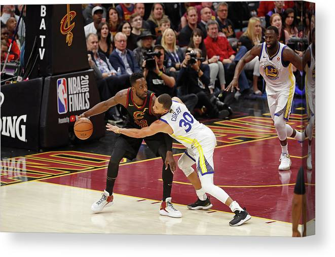 Playoffs Canvas Print featuring the photograph Stephen Curry and Jeff Green by Mark Blinch