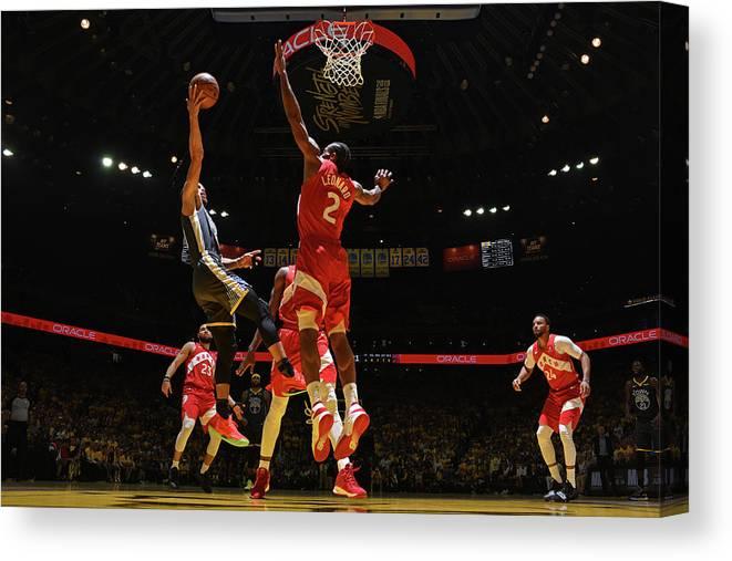 Playoffs Canvas Print featuring the photograph Stephen Curry and Kawhi Leonard by Garrett Ellwood