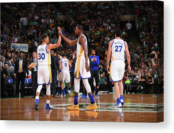 Nba Pro Basketball Canvas Print featuring the photograph Stephen Curry and Kevin Durant by Brian Babineau
