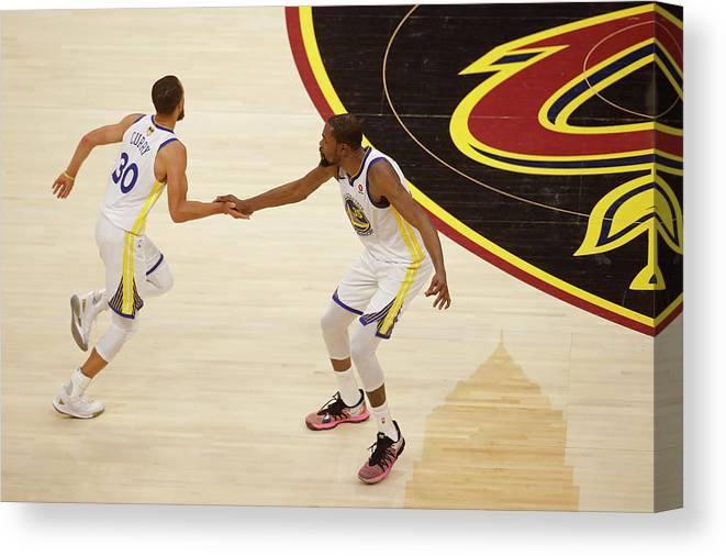 Playoffs Canvas Print featuring the photograph Stephen Curry and Kevin Durant by Mark Blinch