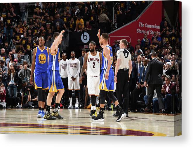 Playoffs Canvas Print featuring the photograph Stephen Curry and Klay Thompson by Andrew D. Bernstein