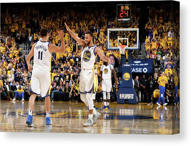 Playoffs Canvas Print featuring the photograph Stephen Curry and Klay Thompson by Garrett Ellwood