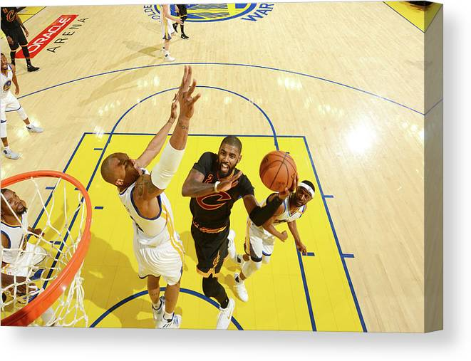 Playoffs Canvas Print featuring the photograph Stephen Curry and Kyrie Irving by Jesse D. Garrabrant