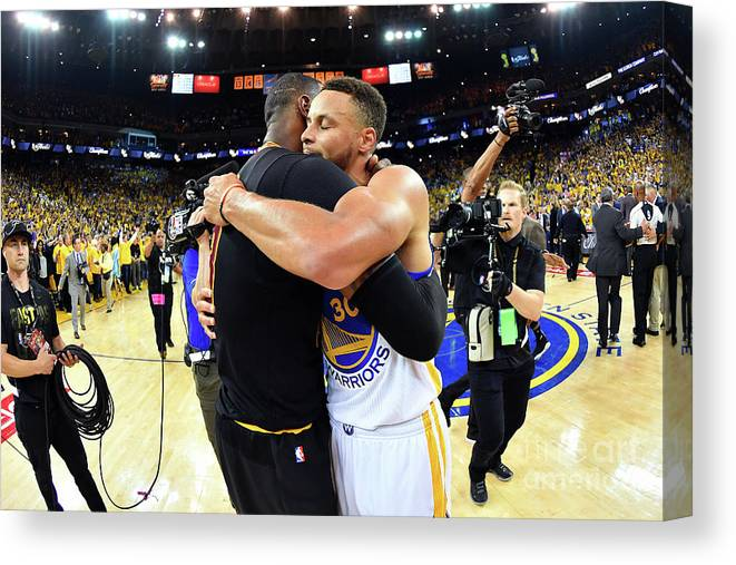 Playoffs Canvas Print featuring the photograph Stephen Curry and Lebron James by Jesse D. Garrabrant