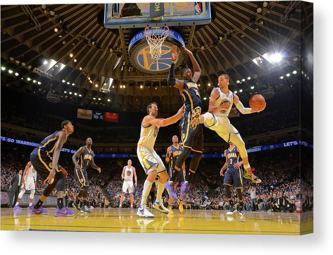 Nba Pro Basketball Canvas Print featuring the photograph Stephen Curry and Roy Hibbert by Rocky Widner