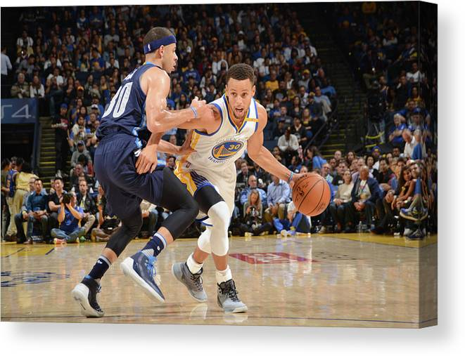 Nba Pro Basketball Canvas Print featuring the photograph Stephen Curry and Seth Curry by Noah Graham