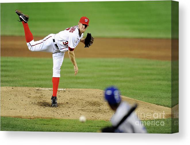 Stephen Strasburg Canvas Print featuring the photograph Stephen Strasburg and Dee Gordon by Greg Fiume