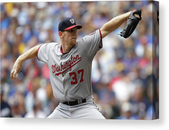 Stephen Strasburg Canvas Print featuring the photograph Stephen Strasburg by Mike Mcginnis
