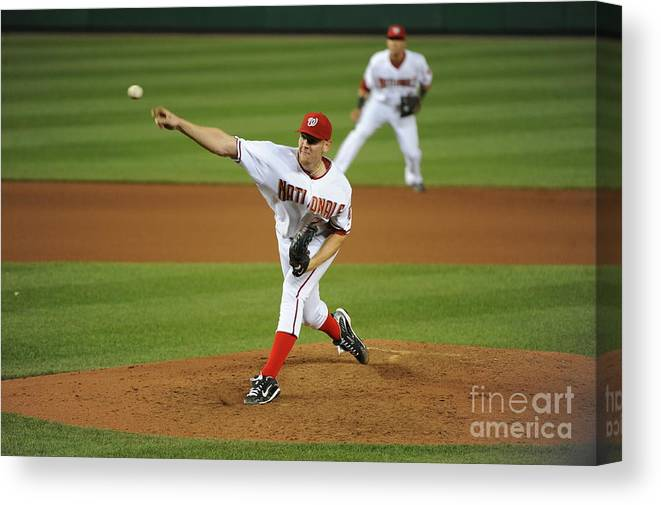 Stephen Strasburg Canvas Print featuring the photograph Stephen Strasburg by Rich Pilling