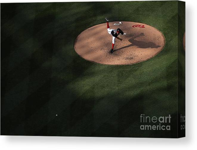 People Canvas Print featuring the photograph Stephen Strasburg by Win Mcnamee