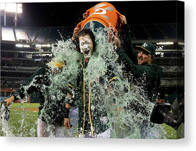 Three Quarter Length Canvas Print featuring the photograph Stephen Vogt, Josh Reddick, and Billy Butler by Jason O. Watson