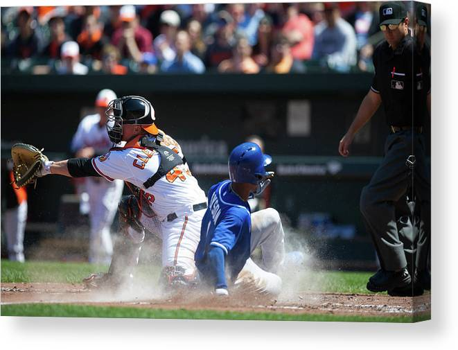 American League Baseball Canvas Print featuring the photograph Steve Clevenger and Jarrod Dyson by Rob Tringali