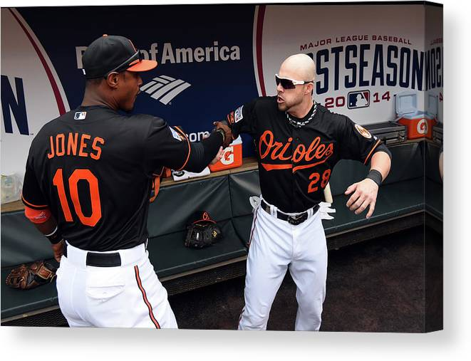 Game Two Canvas Print featuring the photograph Steve Pearce and Adam Jones by Patrick Smith