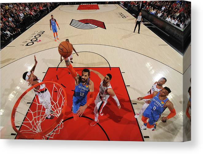 Playoffs Canvas Print featuring the photograph Steven Adams and Enes Kanter by Cameron Browne